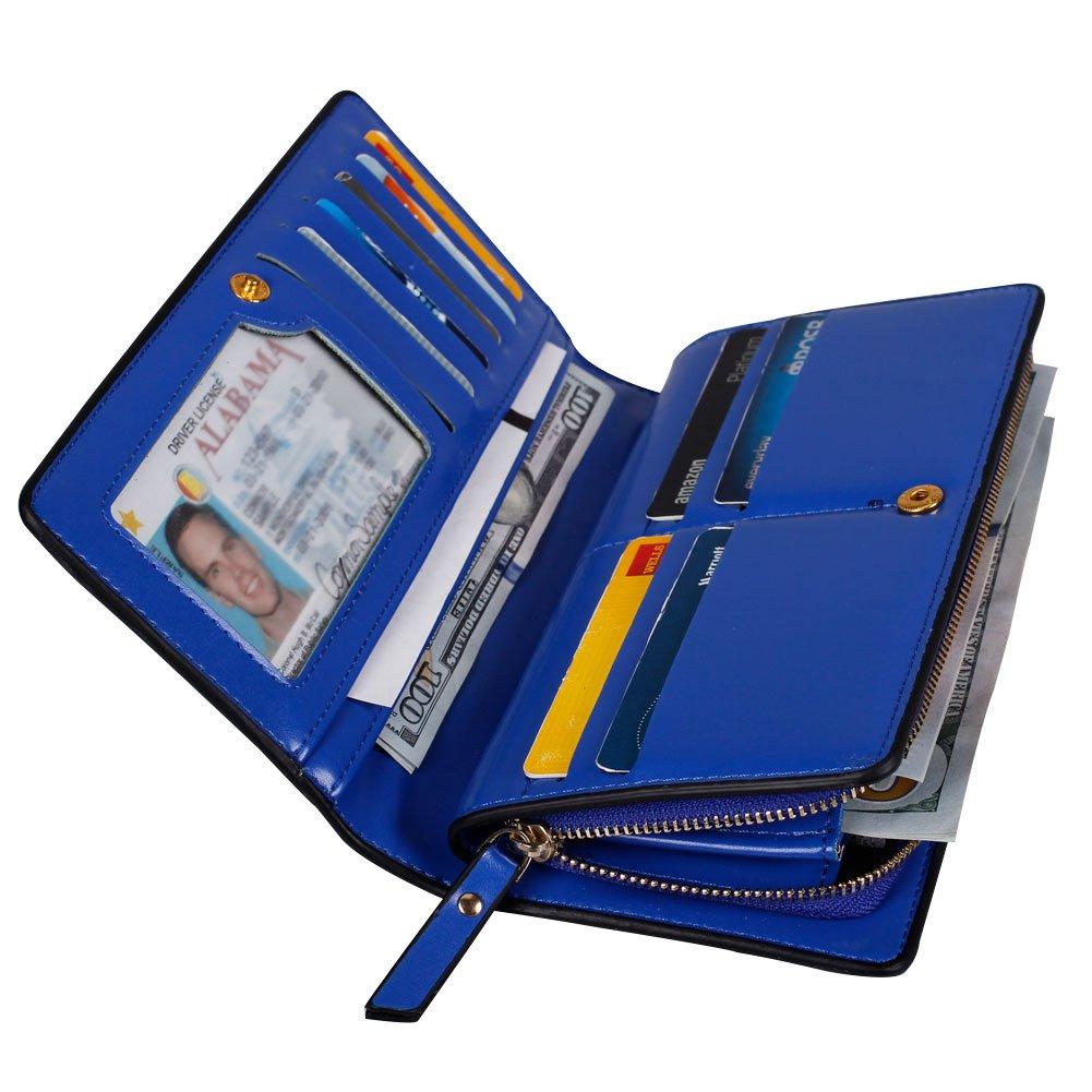 noedyレディースレザー財布クラッチスリムハンドバッグファスナーポケットカードホルダー手ごろ  ブルー B06XDJCHGL
