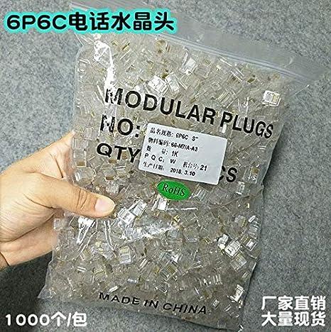 100pcs RJ12 6P6C Modular Cable Head Telephone Connectors Crystal Plugs