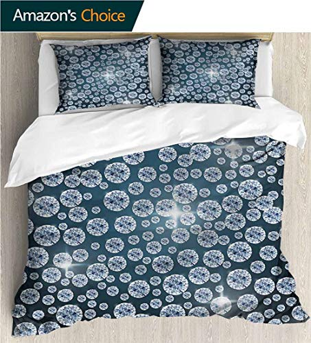 Full/Queen Size Quilt Bedding Set,Box Stitched,Soft,Breathable,Hypoallergenic,Fade Resistant 3 Piece Bedding Quilt Coverlets - 100% Cotton Bed Quilts Coverlet-Diamond Reflections Of Diamond