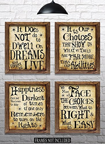 "Harry Potter Quotes & Sayings - Set of 4-8""x10"" Prints - Great Harry Potter Gifts (set #1)"