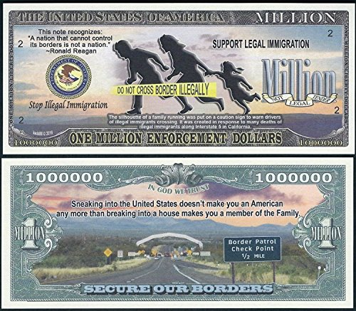 Lot of 2 BILLS - Stop Illegal Immigration Million Dollar Secure Our Borders - Department Justice Seal