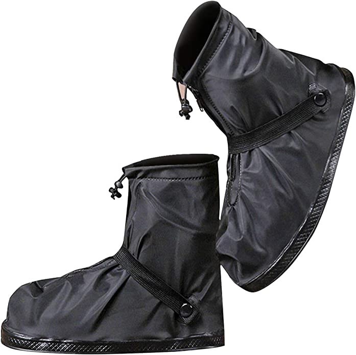 [moofun] シューズカバー 靴カバー 防水 梅雨対策 レインカバー軽量 滑り止め コンパクト 雨 泥避け 雨具 男女兼用 靴の保護 履きやすい 登山 自転車用 通勤通学 手入れ簡単 (XL, ブラック)