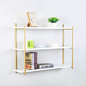 Modern Metal and Wood Wall Shelf Unit 3 Tier,Floating Real Wood Book Shelves for Bedrooms Office,Gold Urban Shelving Iron Wall Shelves,Farmhouse Floating Bookshelf Wall Mounted(36in)