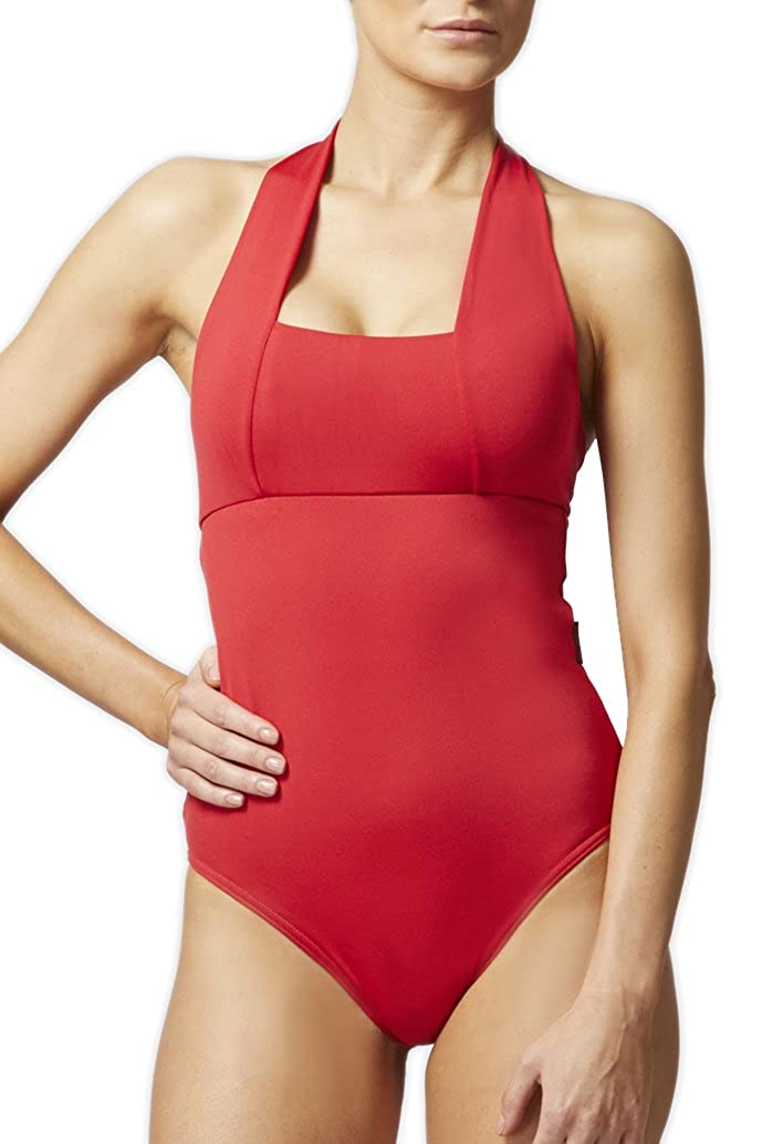 7bd44f5b0c3 TLC Sport Women's Tummy Control Slimming Shaping Halter Swimsuit/Swimming  Costume Red