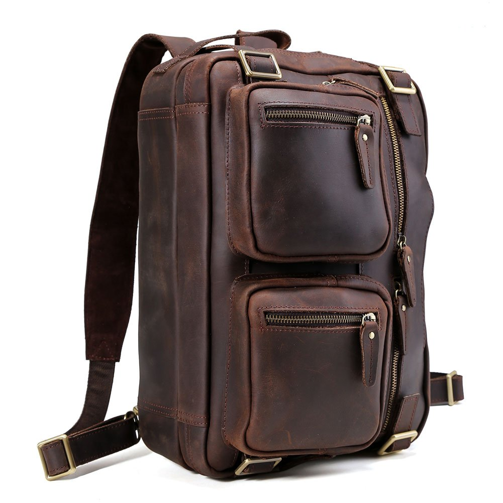 Tiding Men Expandable Genuine Leather Briefcase, Convertible Backpack Shoulder Laptop Tote Bag