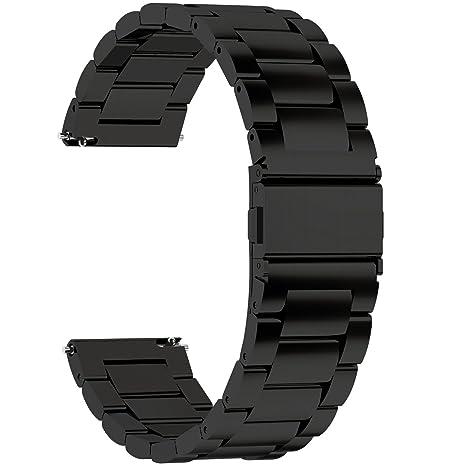 Fullmosa Correa Reloj de liberación rápida, Correa Reloj de Acero Inoxidable, Negro, 24mm