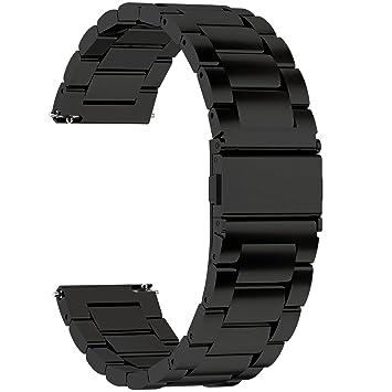 Fullmosa Correa Reloj de liberación rápida, Correa Reloj de Acero Inoxidable, Negro, 16mm