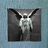 absorbent towel Sculpture of an Angel with Dark Background Catholic Belief Century Dimgrey Soft Cotton Durable W13.8 x W13.8 INCH