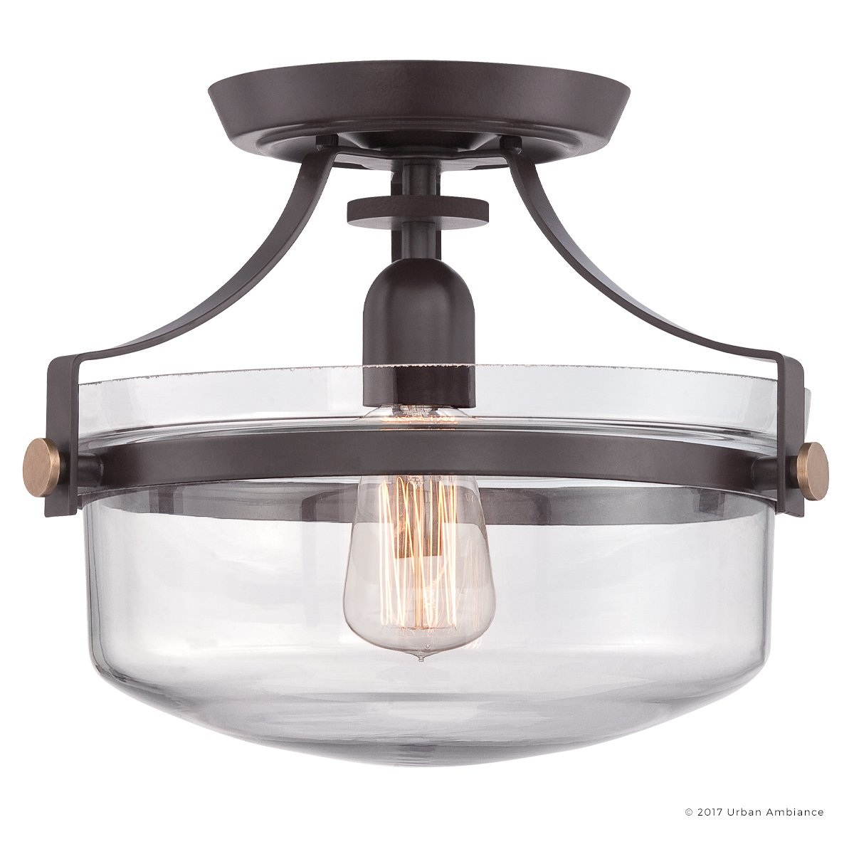 Luxury Vintage Semi-Flush Ceiling Light, Small Size: 10.5''H x 13''W, with Coastal Style Elements, Urn Design,Estate Bronze Finish and Clear Glass, Includes Edison Bulb, UQL2705 by Urban Ambiance