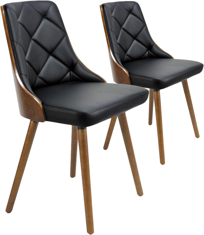 Menzzo – Juego de 2 sillas Estilo escandinavas en PU, Madera Avellana, Negro 53 x 48 x 79 cm: Amazon.es: Hogar