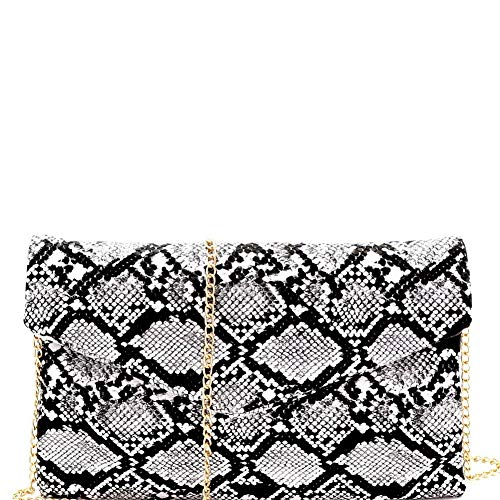 Handbag Pink Snake - Snake Print PU Leather Envelope Clutch with Chain Strap