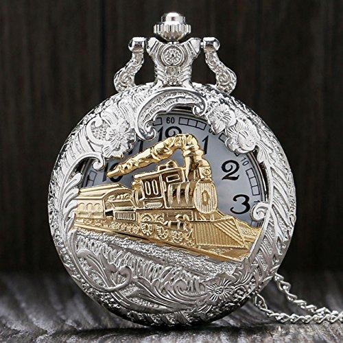 Pendant Quartz Clock - Pocket Watch - 1 Piece Vintage Pocket Watch Train Locomotive Quartz Pocket Watches Clock Hour Men Women Necklace Pendant