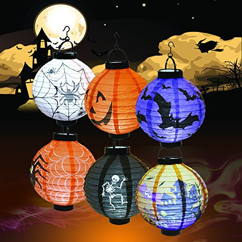 Trunk Or Treats (Halloween Decorations Paper Lanterns with LED Light for Holiday Home Party, 6 Pcs, Bats,Spiders, Skeleton, Jack-O, Castle, with Halloween Goodie)