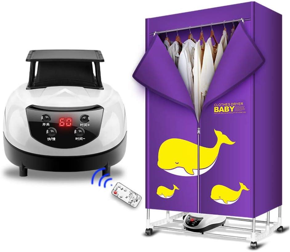 YJDQGYJ Plegable Secadora,Portátil Eléctrico Secadora de Ropa,Inteligente Control Remoto Secadora Eléctrica,Casa Mudo Alta Capacidad Clothes Dryer Botón/C / 147x72x50cm