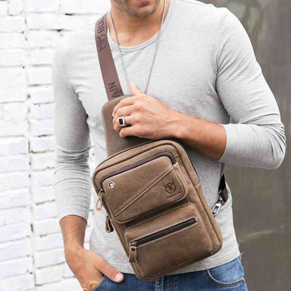 MUMUWU Mens Crossbody Leather Casual Sports First Layer Leather Chest Bag Men Front Chest Bag Color : Bronze, Size : M