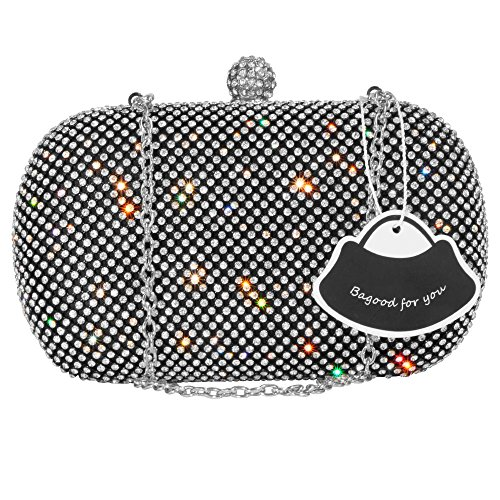 Bagood Women's Rhinestone Crystal Evening Bags Clutches Purses Handbag Shoulder Bag for Wedding Bridal Prom Party Black by Bagood