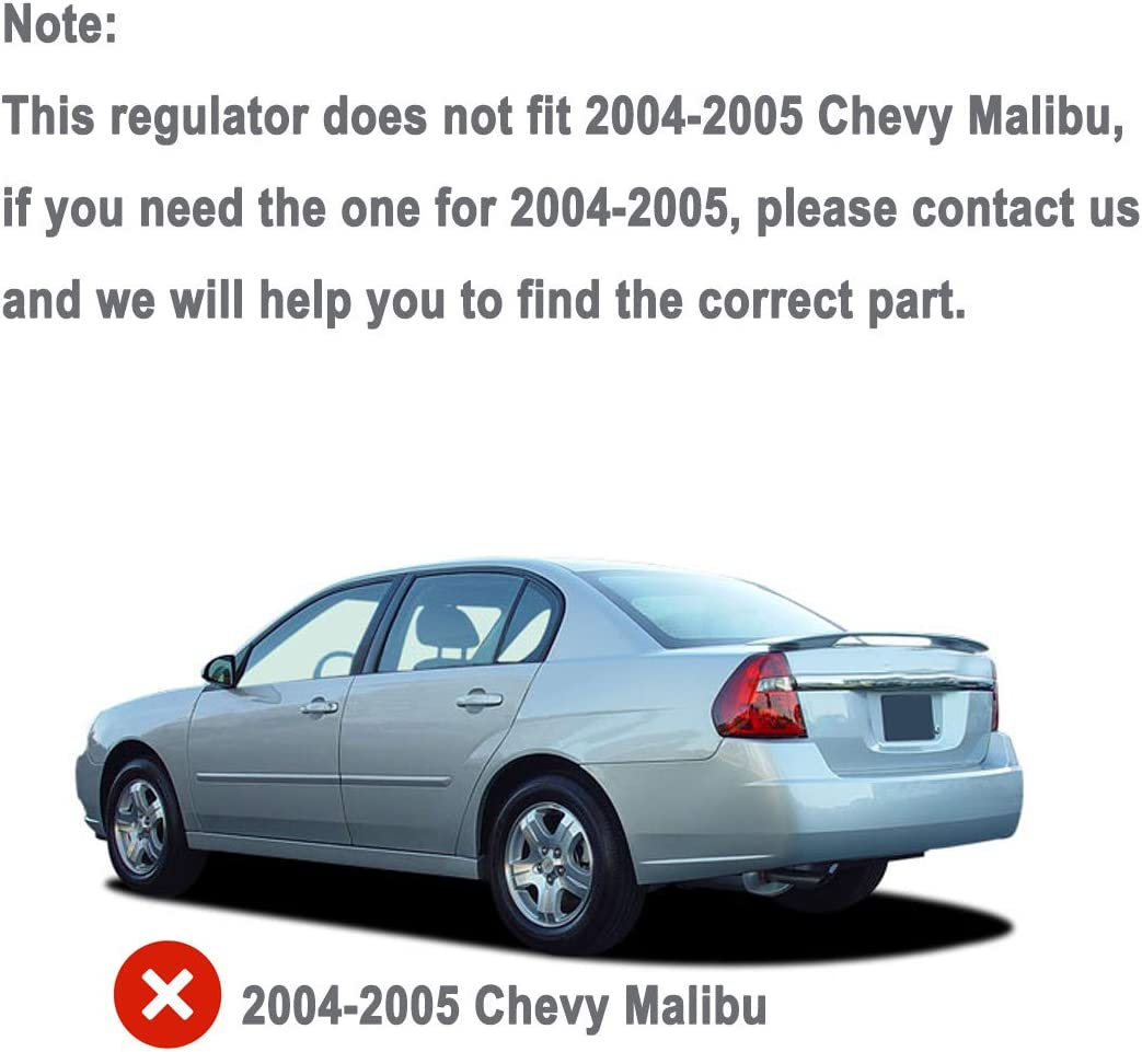 Rear Right Passenger Side Power Window Regulator with Motor for Chevrolet Classic Malibu Oldsmobile Cutlass