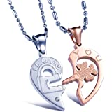 Yellow Chimes Lovers Heart Two Piece Couple Pendant Pair for Women, Girls and Boys (Multi-Colour)