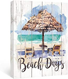 SUMGAR Inspirational Wall Art Bathroom Beach Decor Motivational Quotes Pictures Coastal Canvas Paintings Holiday Sayings Prints Rustic Sign Artwork Sun and Rain, 12x16 inch