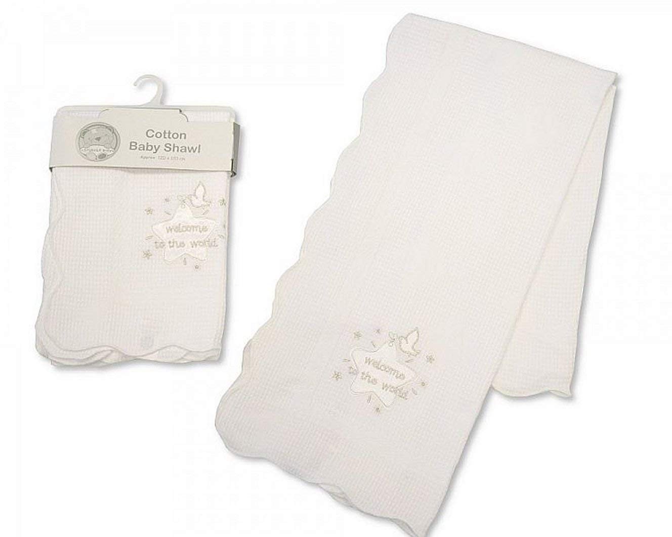 Baby Christening Shawl White/Silver With Embroidery and Applique - 100% Cotton Nursery Time