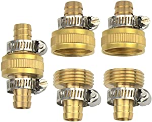 3 Sets 1/2 Inch Brass Garden Hose Repair Kit Mender End Water Hose End Mender Female and Male Hose Connector with 6 Pieces Stainless Steel Clamp