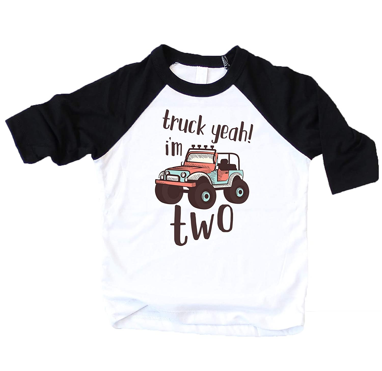 Olive Loves Apple 2nd Birthday Truck Yeah Im Two Shirt Second Birthday Truck Themed Outfit for Baby Boy