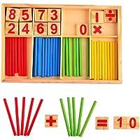 لعبة خشبية تعليمية لتعليم العد عن طريق العصي، مكعبات بناء ذكية صندوق خشبي لتعليم الحساب بطريقة منتسوري