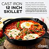 Pre-Seasoned Cast Iron Skillet (12-Inch) with Glass Lid and Handle Cover Oven Safe Cookware - Heat-Resistant Holder - Indoor and Outdoor Use - Grill, Stovetop, Induction Safe