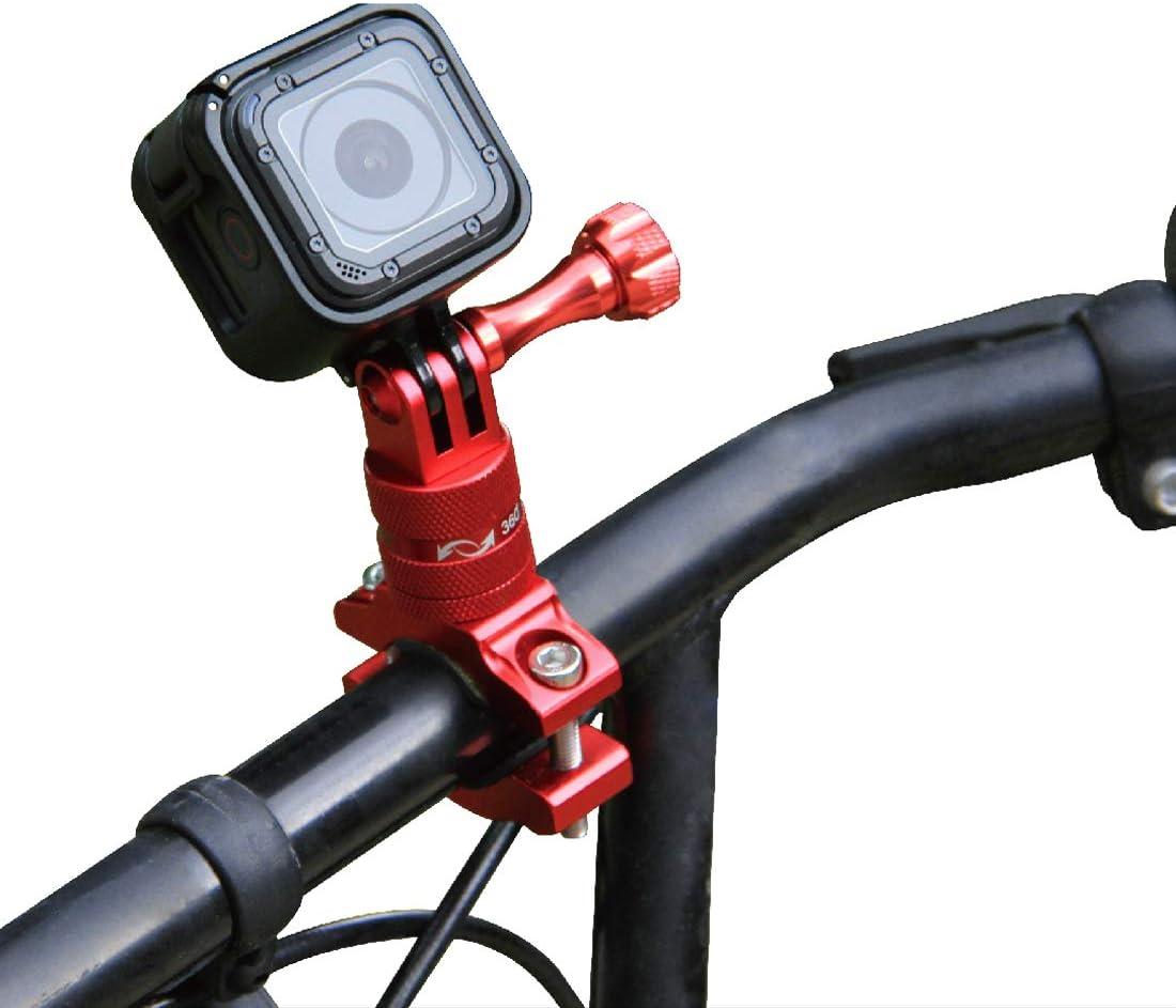 PULUZ Soporte para manillar de bicicleta, rotación de 360 grados, adaptador de aluminio para manillar de bicicleta con tornillo, soporte de bicicleta para GoPro HERO7 6 5 Session 5 4 Session: Amazon.es: