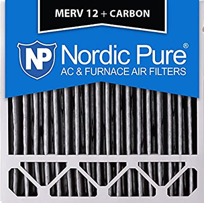 """Nordic Pure 20x20x5HPM12C-2 Honeywell Replacement Pleated MERV 12 Plus Carbon Filter (2 Pack), 20 x 20 x 5"""""""