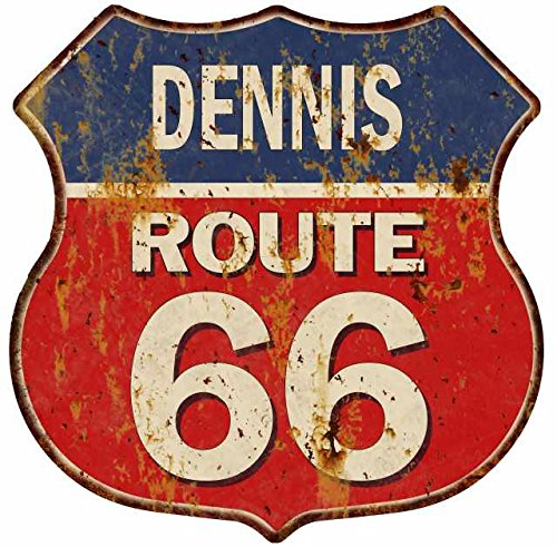 Great American Memories DENNIS Route 66 Blue Red Shield Sign Man Cave Garage 12x12 Gift Decor S128143