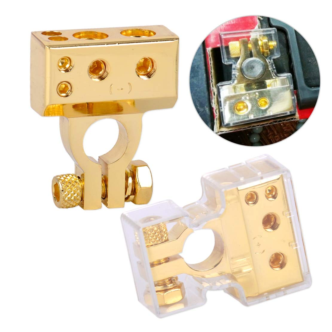 2Pcs Gold Zinc Alloy 2 4 8 Gauge Awg 12V Positive & Negative Car Battery Terminal Clamp Connector With Cover by TX-CONSUMER