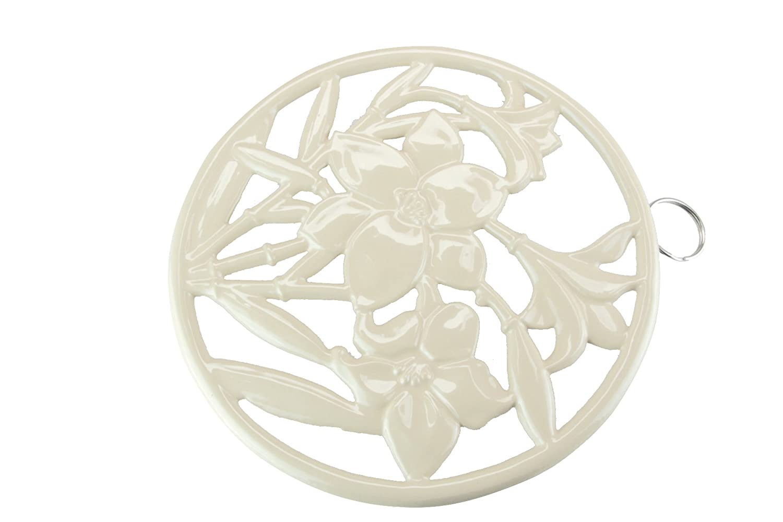 Apollo Round Flowers Cast-Iron Trivet, Cream 4244