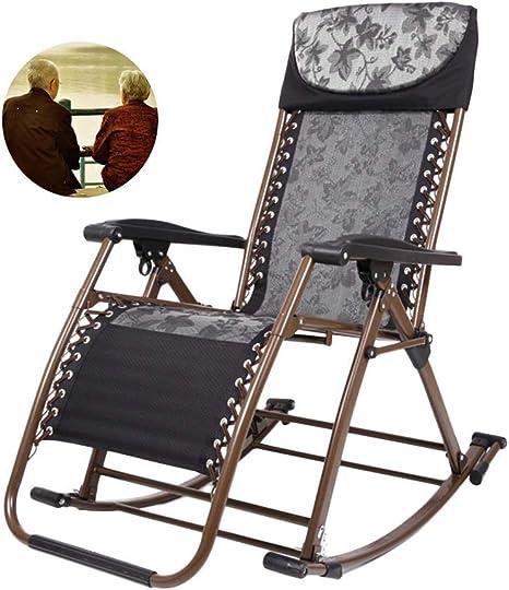 Silla Mecedora Plegable Heavy Duty Patio Rocker, Silla portátil para jardín al Aire Libre, Mejor Regalo para Abuelos, Soporte 200 kg (Color: Negro): Amazon.es: Deportes y aire libre