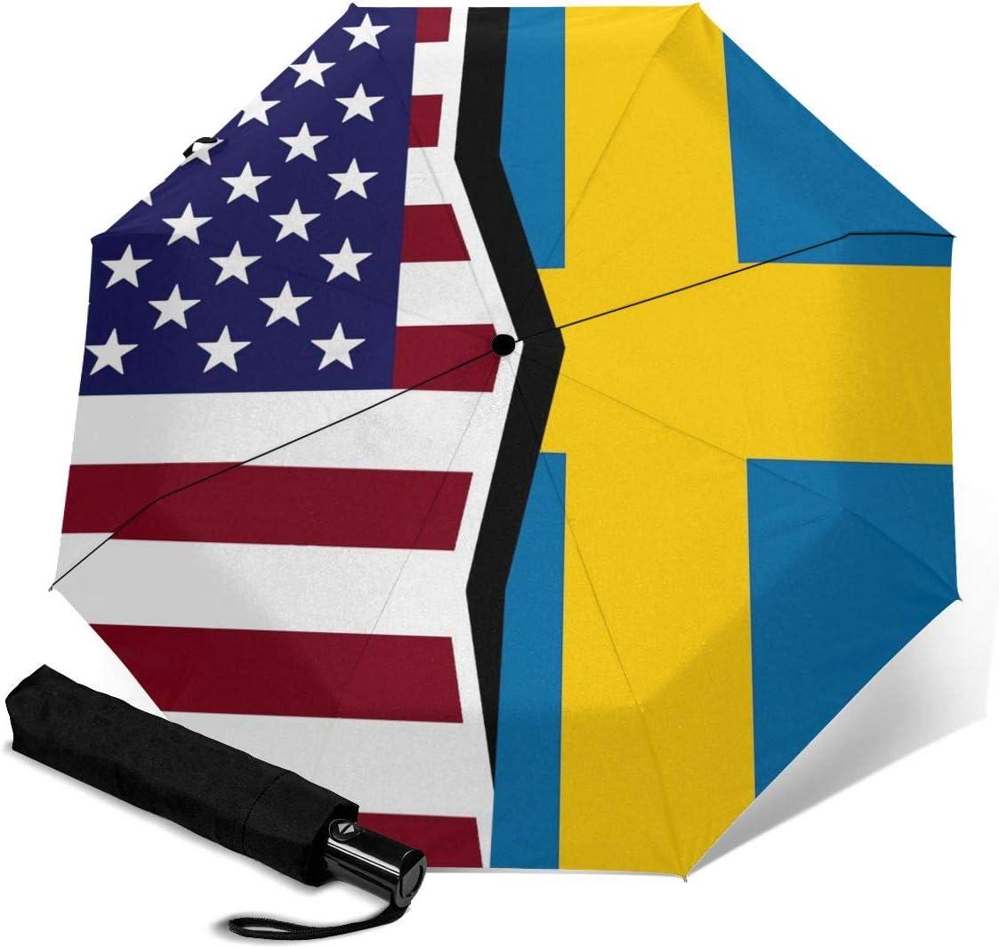 United States And Sweden Flag Automatic Folding Umbrella Super Sunscreen Rain Portable Creative UV Protection Tri-Fold Umbrella