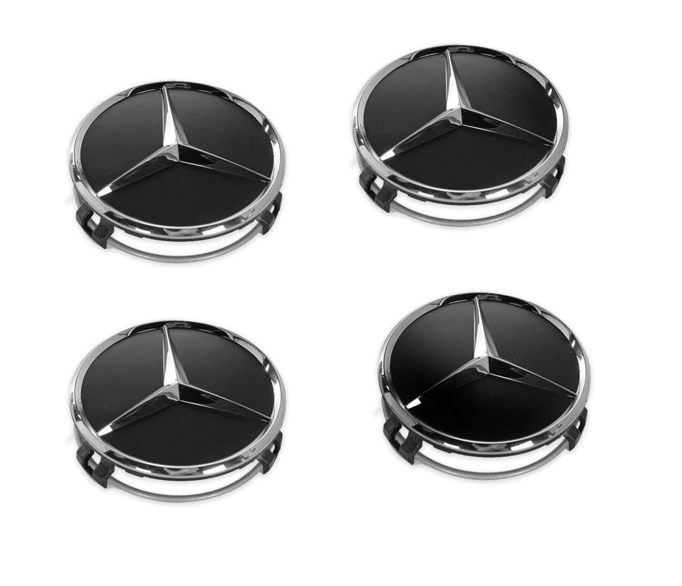 4 tapacubos para ruedas de Mercedes Benz, 75 mm, negros, de reemplazo, 66470200: Amazon.es: Coche y moto