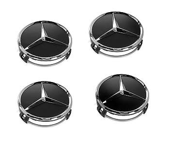 4 tapacubos para ruedas de Mercedes Benz, 75 mm, negros, de reemplazo,