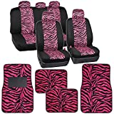 zebra pink car accessories - Two Tone Hot Pink Zebra Seat Covers Floor Mats for Car Truck SUV Auto Accessories