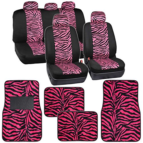 Two Tone Hot Pink Zebra Seat Covers Floor Mats for Car Truck SUV Auto Accessories (Zebra Covers Car Pink Baby Seat)
