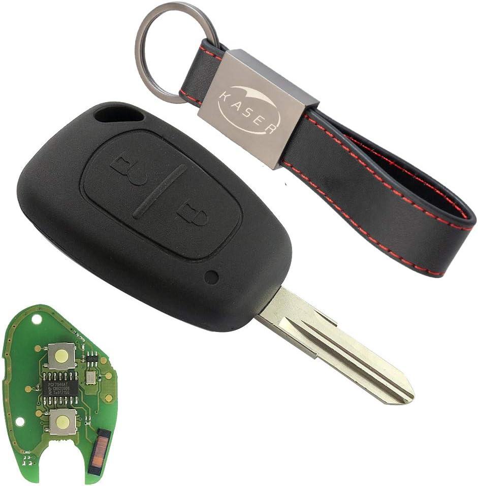Llave para Renault con Tarjeta Electrónica – 2 Botones para Megane 2 Scenic Clio Kangoo Dacia Duster (433Mhz PCF7946 ID46 Chip) Transponder Mando a Distancia Coche con Llavero KASER