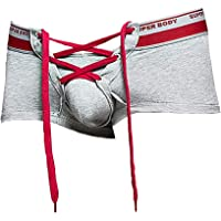 Mens Cotton Sexy Underwear with Long Drawstring Cute Sexy Lingerie Boxer Briefs