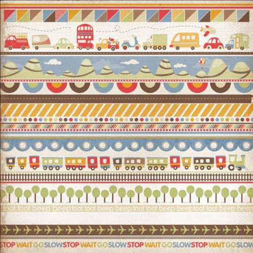 Kaisercraft Little Toot Gloss Varnish Paper, 12-Inch by 12-Inch, Road Trip, 10 Sheets