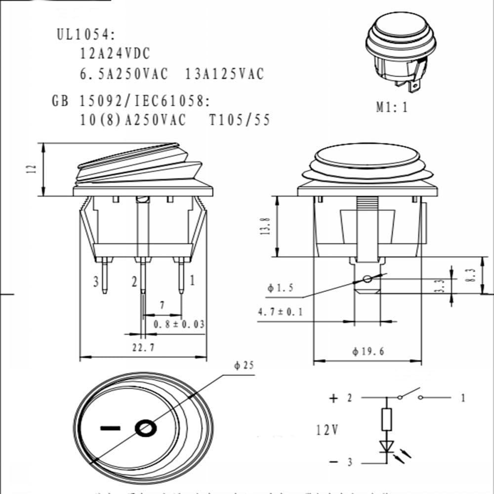 impermeabile a contatto SPST con luce LED 12 V//12 A 1 interruttore a bascula on//off a 3 pin Ungfu Mall