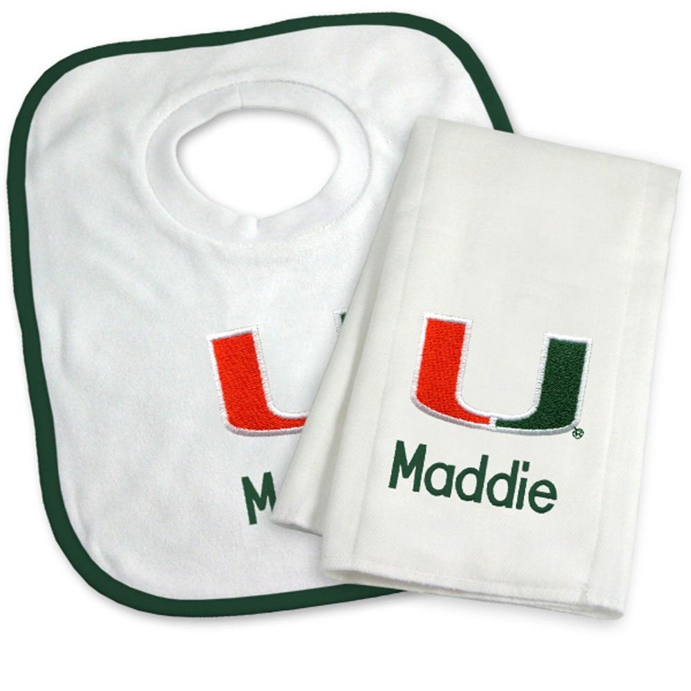 Designs by Chad and Jake Baby Personalized Miami Hurricanes Bib and Burp Cloth Set One Size White