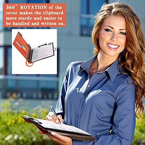 Clipboard Folder File Padfolio Clipboard Storage, Kakbpe Bussiness Letter Size Padfolio with Refillable Notepads, Give a Total of 100 Note Page Markers in Five Colors-Orange, Letter Size Photo #7