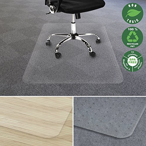 Office Marshal Chair Mat for Carpet | Eco-Friendly Series Chair Floor Protector | 100% Recycled (PET) Floor Mat for Office or Home Use | Multiple Sizes | Translucent - 36'' x 48'' by Office Marshal