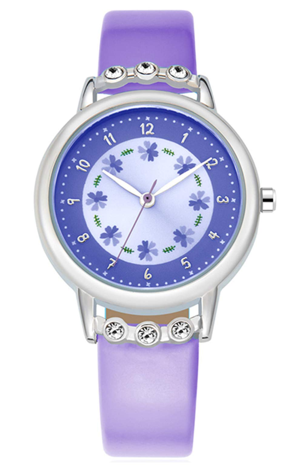 WUTAN Girls Watch Adorable Leather Strap Purple Wrist Band Flowers Dial with Diamond Cute Watch for Girls Casual Waterproof Wristwatches for Kids by WUTAN