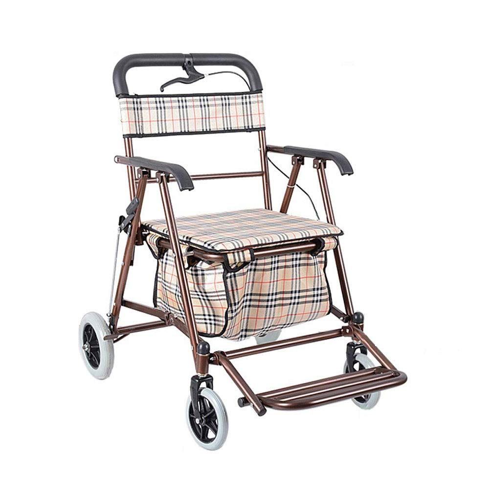 Rollator Walker That Converts to A Wheelchair,Walker Rollator with Seat and Foot Rest Lockable Brake Auxiliary Walking Safety Walker (Color : Brass) by YL WALKER