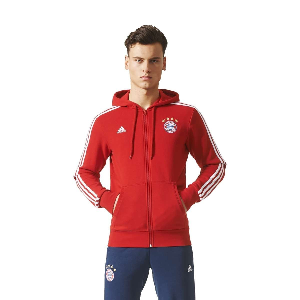 2017-2018 Bayern Munich Adidas 3S Hooded Zip (Red) BS0102