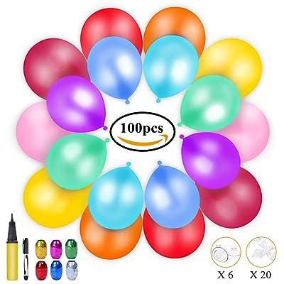 100 Globos de Fiesta de Diversos Colores, KimKo Globos de Látex con Bomba y Cintas, Globos y Decoraciones para Cumpleaños, Fiestas, Bodas, Propuestas, Reuniones y Otras Celebraciones: Juguetes y juegos